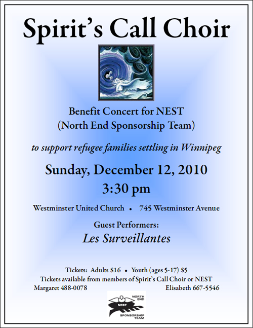 8th annual benefit concert for NEST - Sun. December 12, 2010